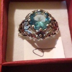 Size 9 Silvertone & Blue Topaz Ring